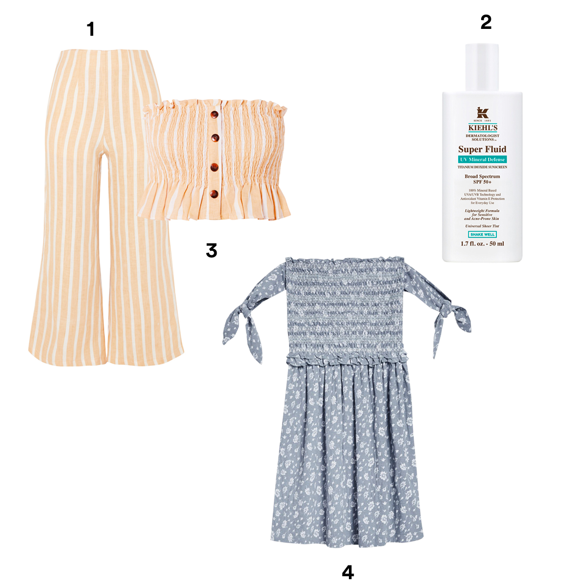 1.) FAITHFULL THE BRAND Thomas Cropped Wide-Leg Striped Linen Pants, available at Bloomingdales. 2.) KIEHL'S Dermatologist Solutions™ Super Fluid UV Mineral Defense Sunscreen SPF 50+, availabe at Barneys New York. 3.) FAITHFULL THE BRAND Sloan Shirred Striped Linen Top, available at Bloomingdale's. 4.) TOPSHOP Tie Sleeve Print Bardot Dress.