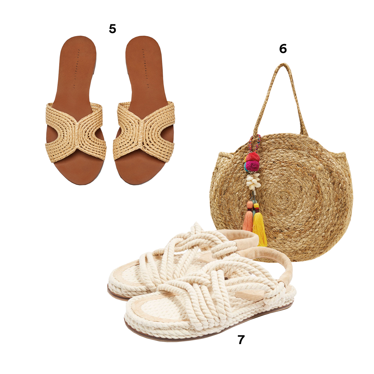 5.) ZARA Flat Natural Sandals. 6.) ZARA Round Raffia Bag with Pompoms. 7.) TOPSHOP Fiesta Flat Rope Sandals.