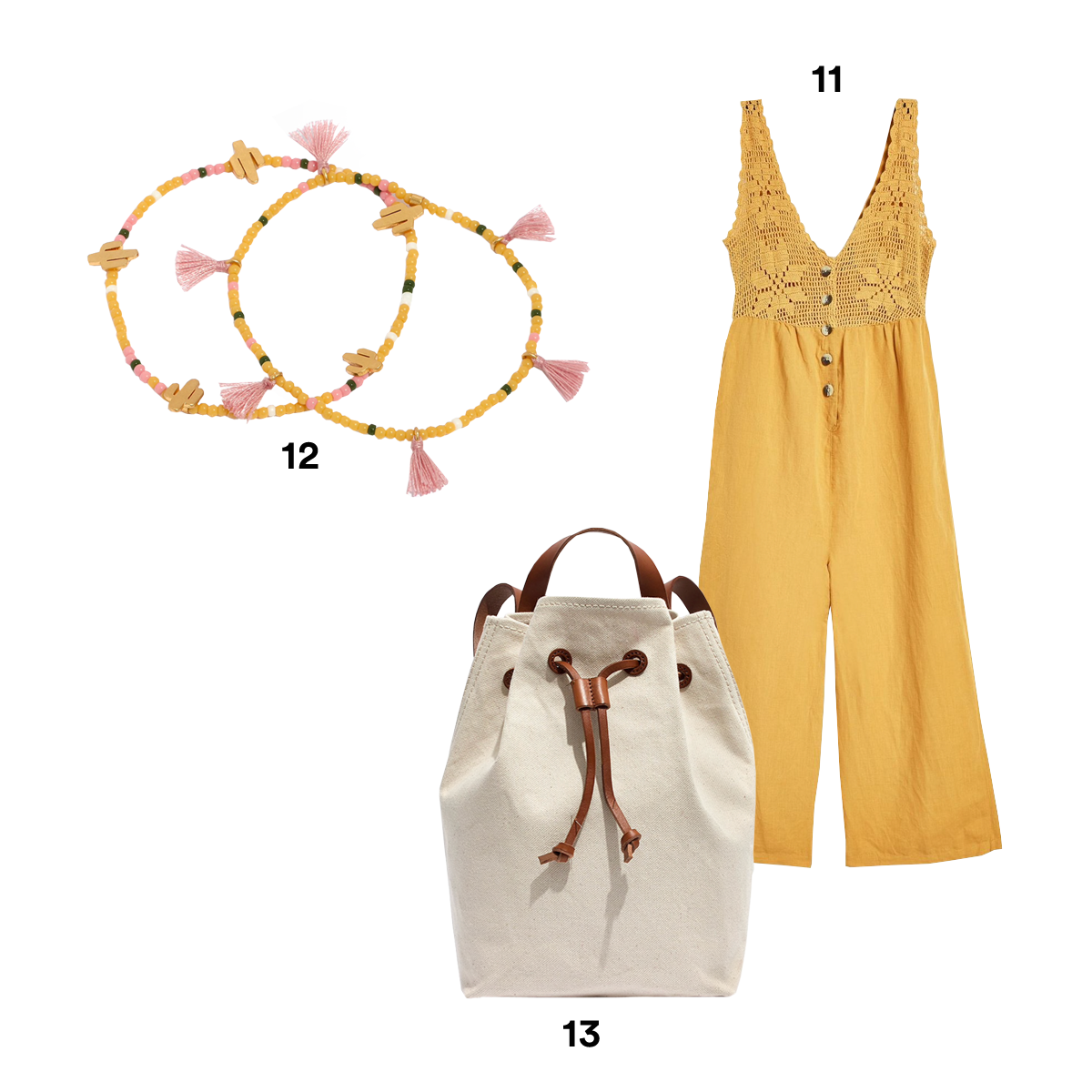 11.) TOPSHOP Crochet Button Jumpsuit. 12.) MADEWELL Two-Pack Beaded Bracelets. 13.) MADEWELL The Canvas Somerset Backpack.