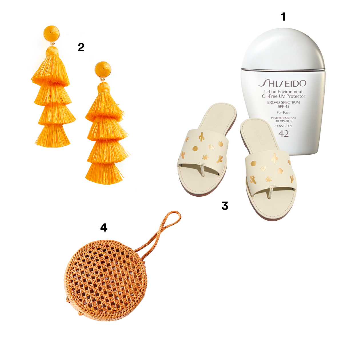 1. SHISEIDO 'Urban Environment' Oil-Free UV Protector Broad Spectrum SPF 42, available at Nordstrom. 2.) BAUBLEBAR Gabriela Fringe Earrings, available at Nordstrom. 3.) MADEWELL The Boardwalk Post Slide Sandals. 4.) URBAN OUTFITTERS Straw Mini Circle Wristlet.