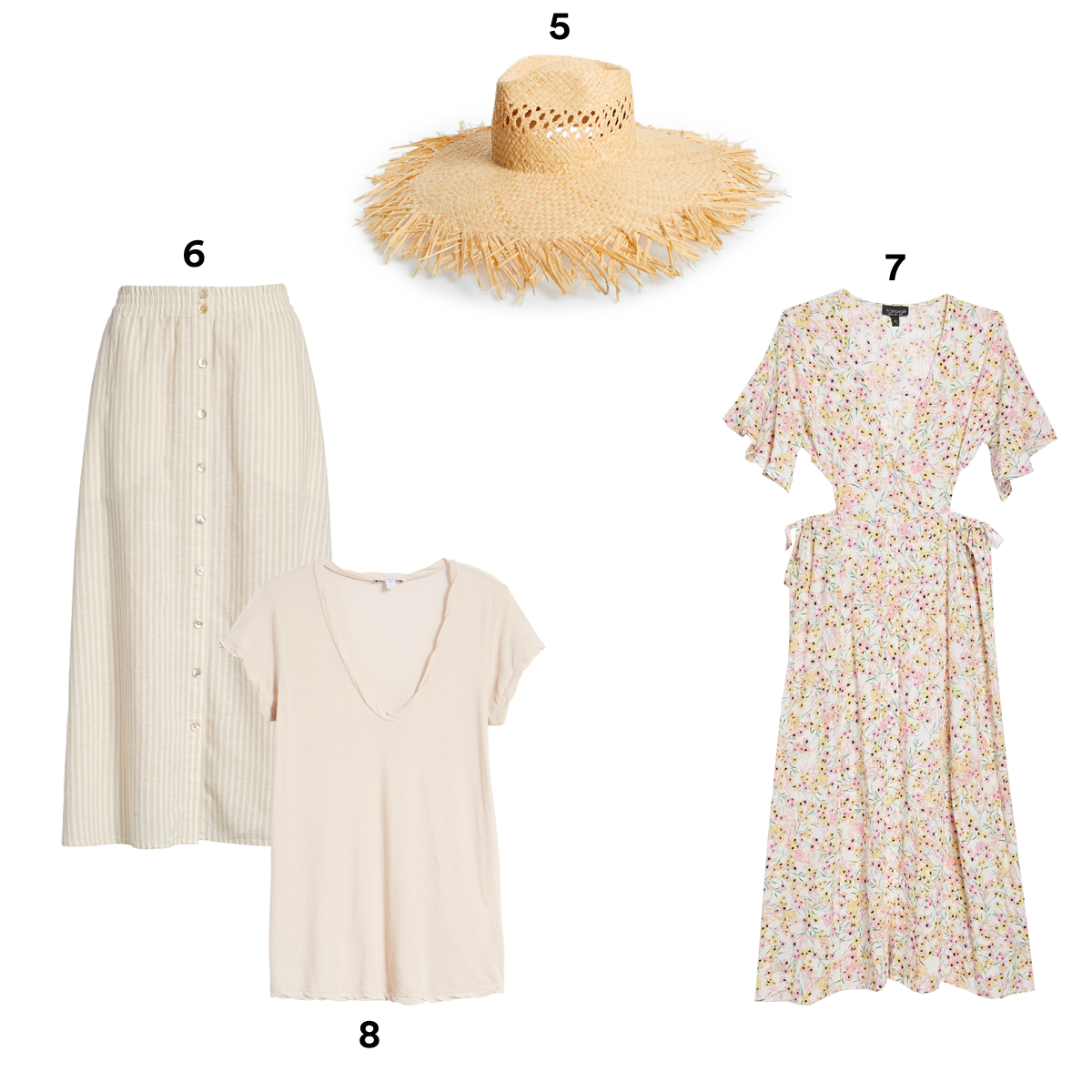 5.) BRIXTON Joanna Fringe Hat, available at Nordstrom. 6.) EILEEN FISCHER Stripe Hemp & Organic Cotton Midi Skirt. 7.) TOPSHOP Ditsy Cut Out Midi Dress. 8.) JAMES PERSE High Gauge Jersey Deep V Tee.