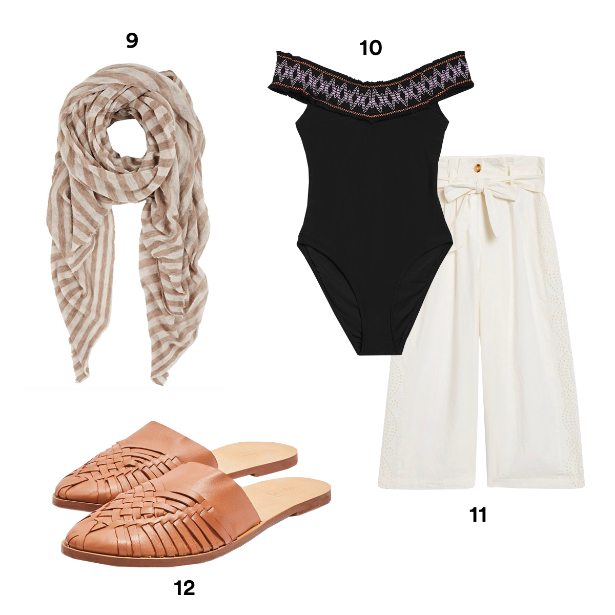 9.) BOTTO GIUSEPPE Wide-Striped Cashmere Stole, available at Barneys New York. 10.) TOPSHOP Shirred Bardot Swimsuit. 11.) TOPSHOP Broderie Anglaise Culottes. 12.) TOPSHOP Amie Woven Mules.