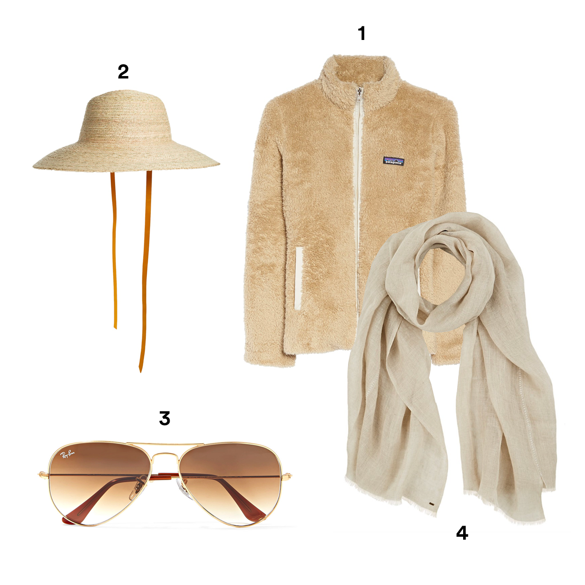 1.) PATAGONIA Los Gatos Fleece Jacket, available at Nordstrom. 2.) BRIXTON Jaya Hat, available at Nordstrom. 3.) RAY-BAN Aviator Gold-Tone Sunglasses, available at The Sunglass Hut. 4.) FROM THE ROAD Vari Linen Scarf, available at Barneys New York.