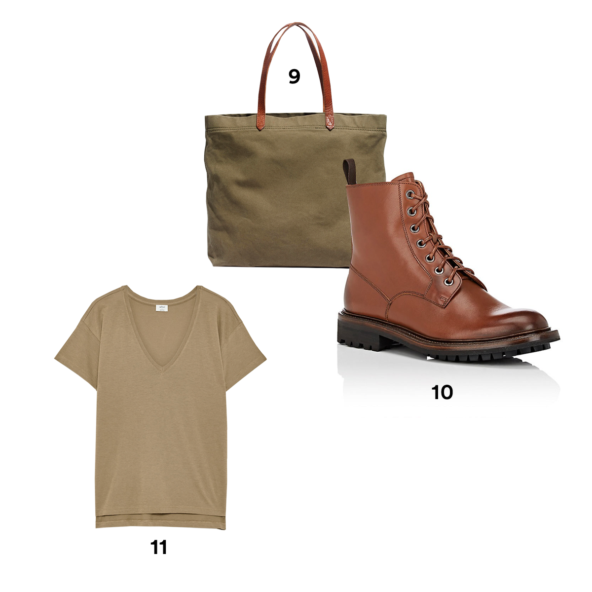9.) MADEWELL The Canvas Transport Tote. 10.) CHURCH'S Nanalah Leather Ankle Boots, available at Barneys New York. 11.) WILFRED Noemie Top, available at Aritzia.