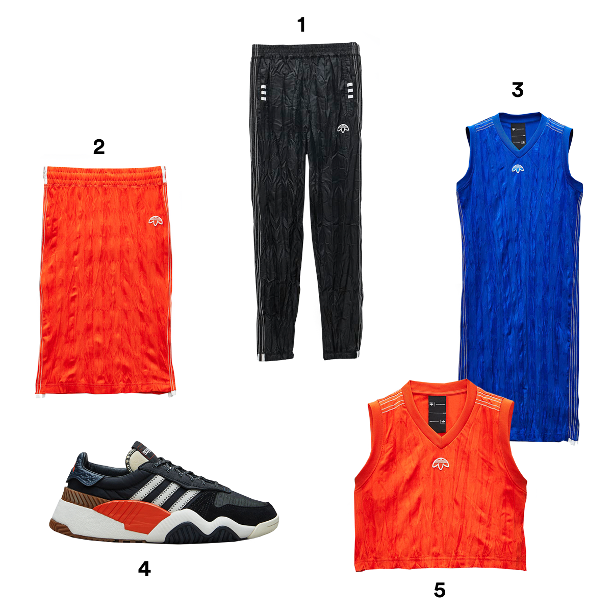 1) ALEXANDER WANG X ADIDAS ORIGINALS Adibreak Pants, available at Adidas. 2) ALEXANDER WANG X ADIDAS ORIGINALS Red Skirt, available at Adidas. 3) ALEXANDER WANG X ADIDAS ORIGINALS Blue Tank Dress, available at Adidas. 4) ALEXANDER WANG X ADIDAS ORIGINALS Run Mid Shoes, available at Adidas. 5) ALEXANDER WANG X ADIDAS ORIGINALS Red Crop Jersey, available at Adidas.