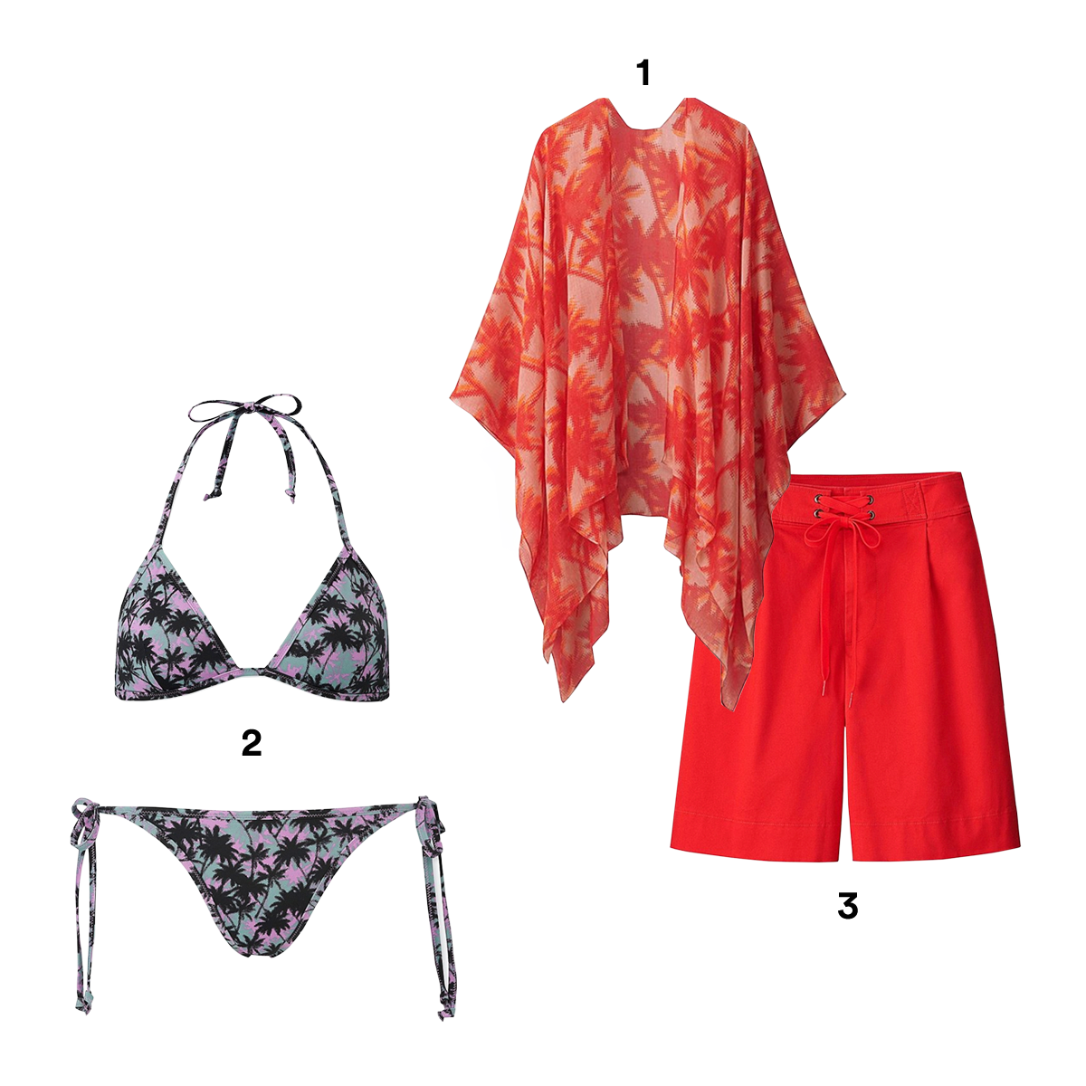1) UNIQLO X TOMAS MAIER Palm-Print Stole, available at Uniqlo. 2) UNIQLO X TOMAS MAIER Printed Swim Triangle Bikini, available at Uniqlo. 3) UNIQLO X TOMAS MAIER Chino Wide Shorts, available at Uniqlo. 4) UNIQLO X TOMAS MAIER Printed Short-Sleeve Tee Dress, available at Uniqlo. 5) UNIQLO X TOMAS MAIER Printed Long-Sleeve Rash Guard, available at Uniqlo. 6) UNIQLO X TOMAS MAIER Airism Pile Lounge Long-Sleeve Hoodie, available at Uniqlo.