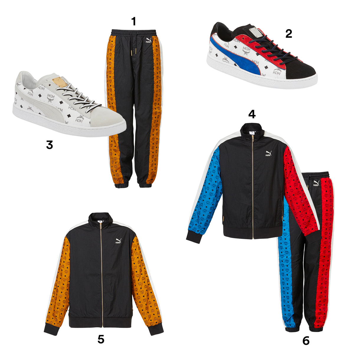 1) PUMA X MCM Tan and Black Hip-Hop Track Pants, available at Puma. 2) PUMA X MCM Red White and Blue Suede Classic Sneakers, available at Puma. 3) PUMA X MCM White Suede Classic Sneakers, available at Puma. 4) PUMA X MCM T7 Red White and Blue Track Jacket, available at Puma. 5) PUMA X MCM T7 Black and Tan Track Jacket, available at Puma. 6) PUMA X MCM Red White and Blue Track Pants, available at Puma.